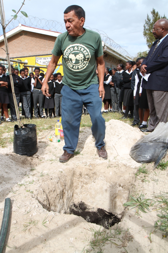 Desmond from Food and Trees for Africa gave us a tree planting demonstration