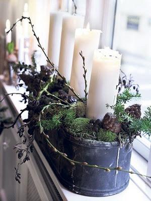 pillar candle Christmas posts