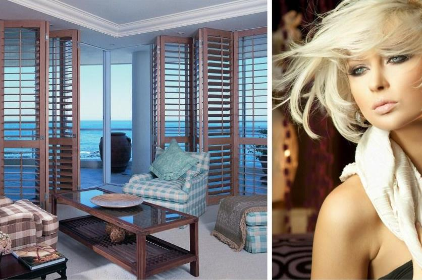 Naturally honey-blonde Normandy shutters