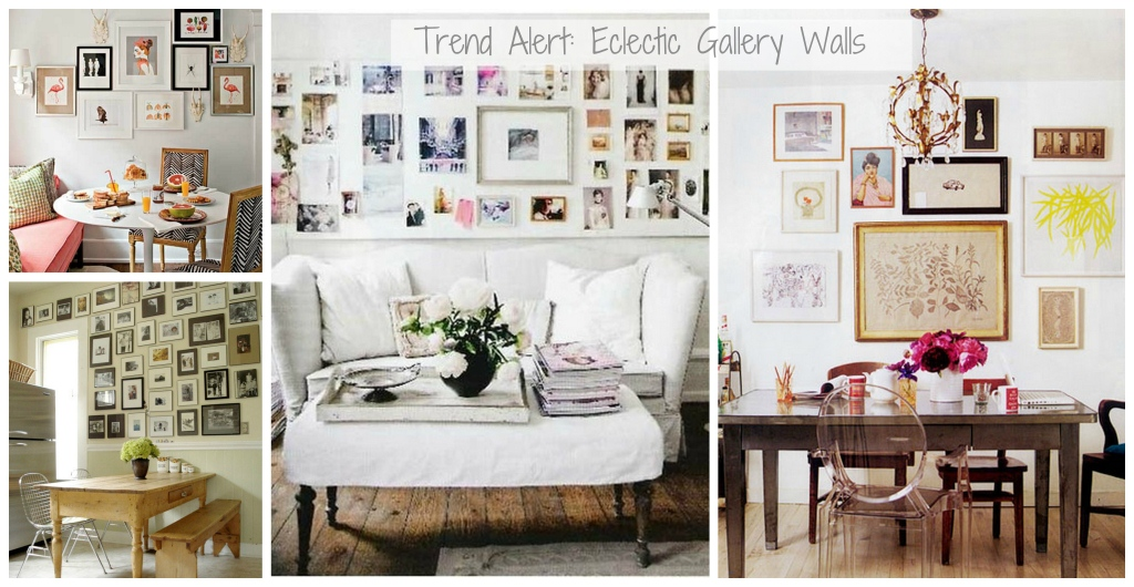 Gallery walls eclectic and mismatched