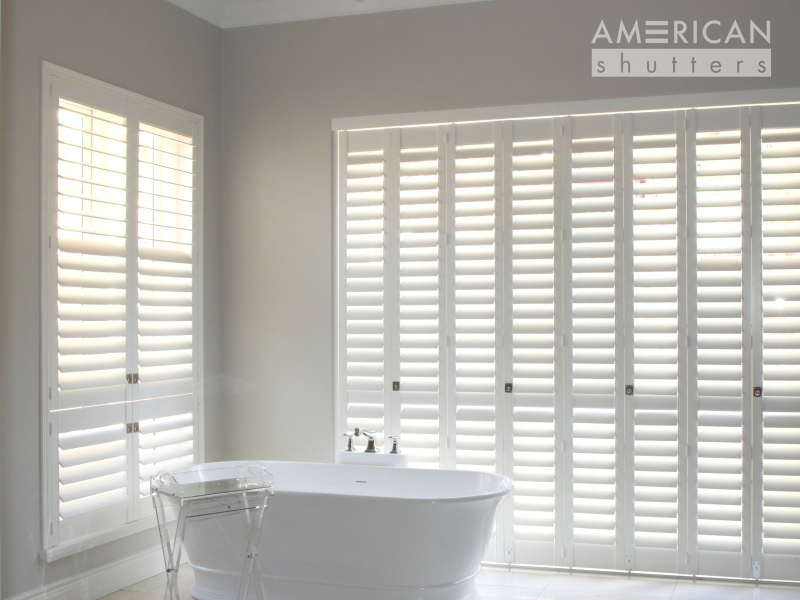 AMERICAN shutters Decowood shutters in bathroom