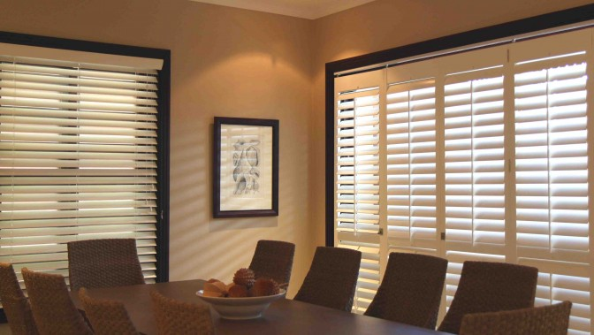 Living Room And Dining Room Blinds American Shutters