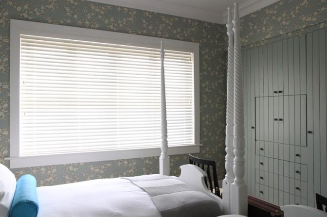 Framed wooden slat blinds