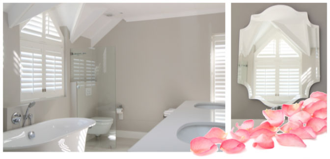 chic bathroom shutters
