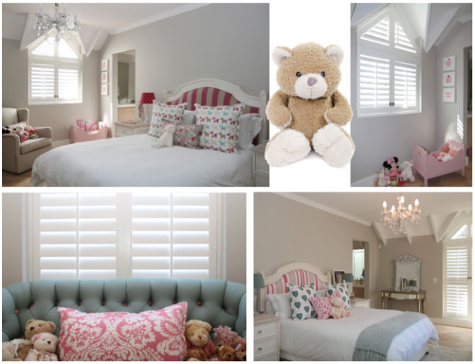 girls bedroom shutters and decor