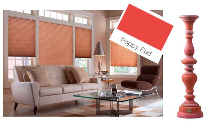 red honeycomb blinds