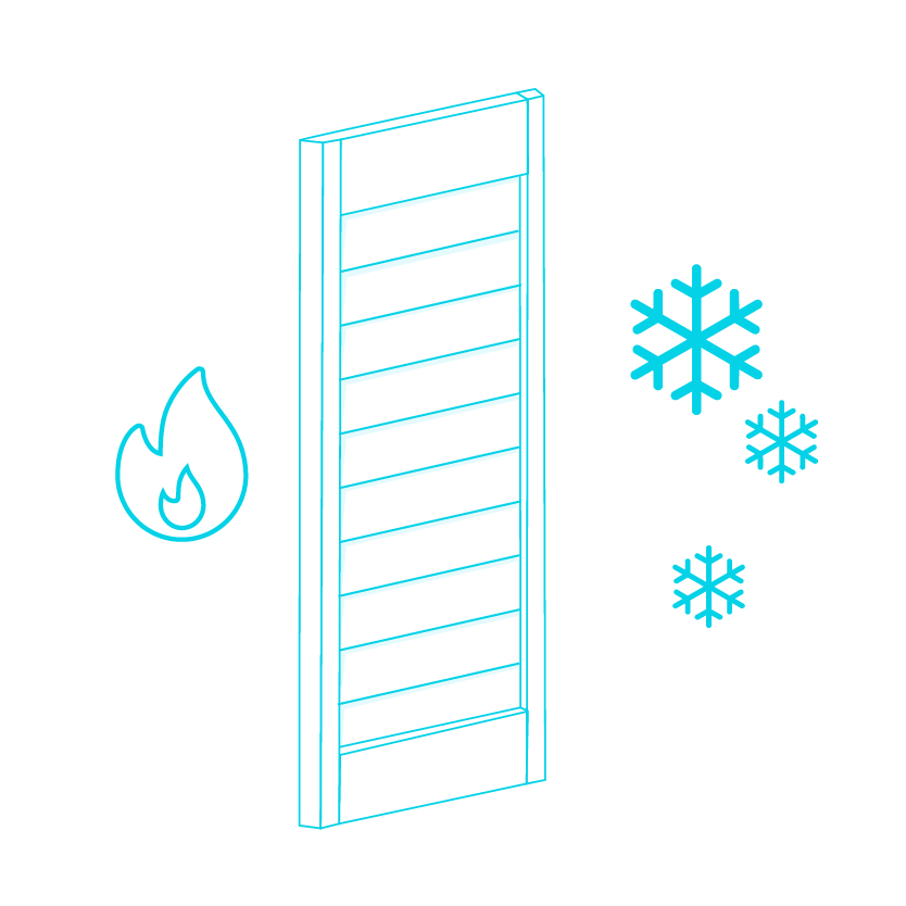 Info graphic showing how shutters keep heat in