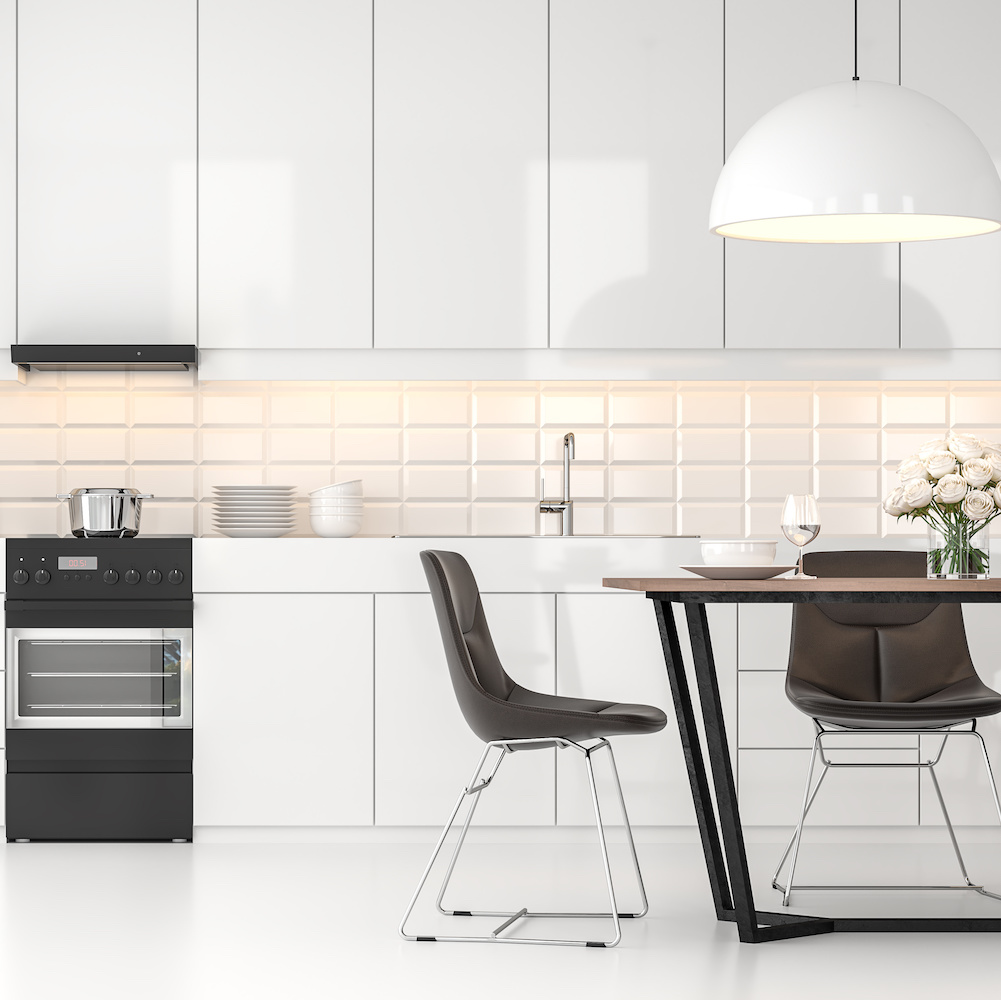 Modern white  kitchen and dining room 3d render.There are white floor and wall, Glossy white cabinet doors,Dark brown leather chair,The room has large windows. lookink out to the city view.